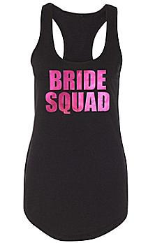Metallic Print Bride Squad Racerback Tank Top DBK-SQ-SQD