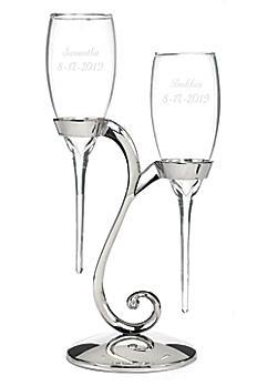 Personalized Elegant Raindrop Toasting Flutes DBK20772P