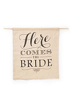Rustic Linen Here Comes the Bride Sign DBK31259