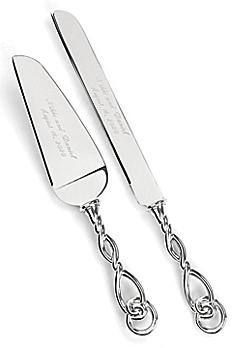 Personalized Love Knot Cake Knife and Server DBK7464P