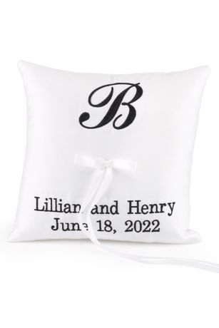 DB Exc Personalized Monogram Ring Bearer Pillow Davids Bridal