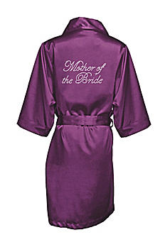Eggplant Rhinestone Mother of the Bride Satin Robe DBMOBRB