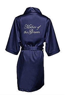Navy Rhinestone Mother of the Groom Satin Robe