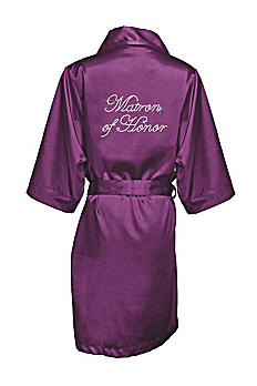 Rhinestone Matron of Honor Satin Robe DBMTHRB