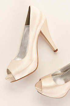 David's Bridal Black Peep Toe Shoes (Dyeable Satin Platform Peep Toe)