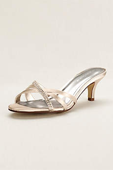 David's Bridal Ivory Sandals (Crystal Embellished Dyeable Low Heel Sandal)