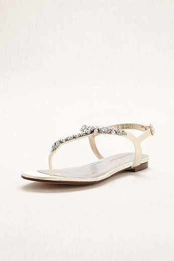 Dyeable Pearl and Crystal Encrusted T-Strap Sandal DBSTELLA