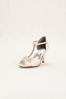 Dyeable Satin Mid Heel Crystal T Strap Sandal DBTIA