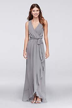Soft & Flowy Violets and Roses Long Bridesmaid Dress