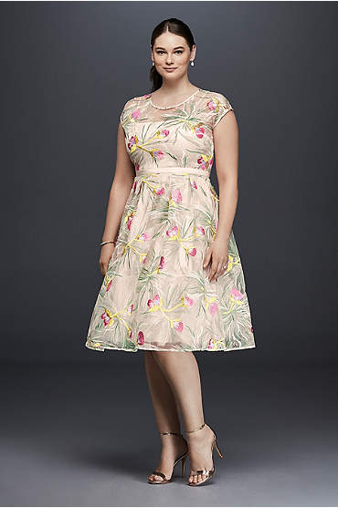 Floral tea-length A-line plus size dress