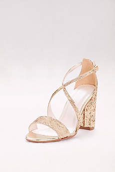 David's Bridal Grey Sandals (Crisscross Strap Block Heel Glitter Sandals)