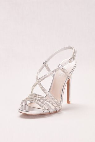 Strappy Crystal Embellished High Heel Sandals David S Bridal