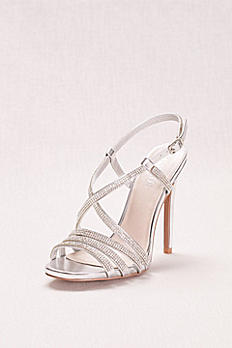 Strappy Crystal Embellished High Heel Sandals DIAMOND26