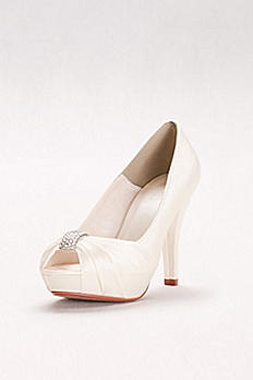 Pleated Peep Toe with Crystal Ornament Diana Bridal