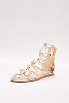 Bamboo Yellow Sandals (Stretch Metallic Gladiator Sandals)