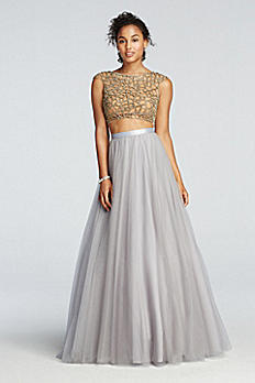 Two Piece Beaded Prom Crop Top with Tulle Skirt DL322