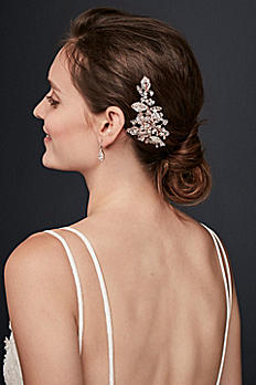 Bezel-Set Crystal Sprig Hair Clip DS101