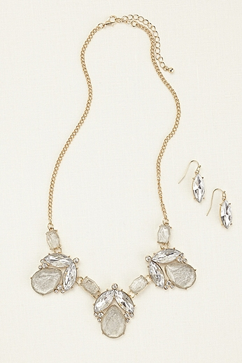 Bold Tear Drop Necklace and Earring Set DU10263N