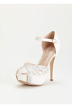 Blossom White Peep Toe Shoes (Lace and Rhinestone Platform Sandal)