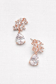 Cubic Zirconia Petals Pear Drop Earrings E310563