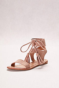 Suede Lace-Up Sandals with Tassels EATHENA961