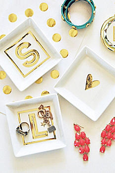 Personalized White and Gold Monogram Ring Dish EB3125M