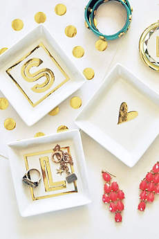 Personalized White and Gold Monogram Ring Dish