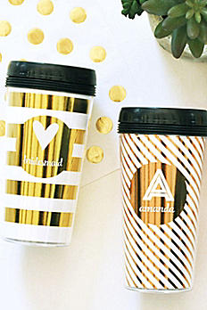 Personalized Metallic Gold Travel Coffee Mug EB3135