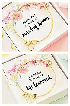 Personalized Gold Floral Bridal Party Bracelets EB3144WC-BPW