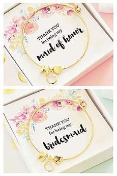 Personalized Gold Floral Bridal Party Bracelets