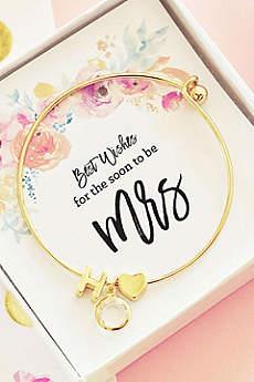 Personalized Gold Monogram Floral Mrs Bracelet