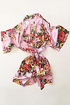 Pink Floral Flower Girl Satin Robe EB3153-LPK