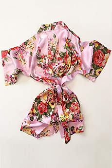 Pink Floral Flower Girl Satin Robe