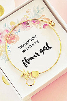 Personalized Gold Floral Flower Girl Bracelet EB3154