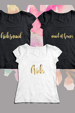 Gold Script Bridal Party Tees