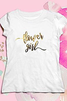 Gold Script Flower Girl Tee EB3161