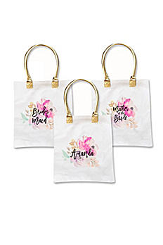 Personalized Bridal Party Floral Canvas Tote Bag EB3162BPW