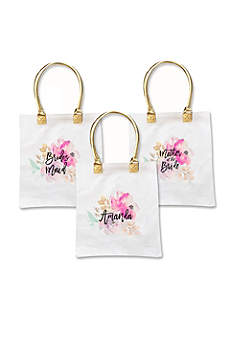 Personalized Bridal Party Floral Canvas Tote Bag