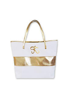 Personalized Monogram Gold Striped Tote Bag