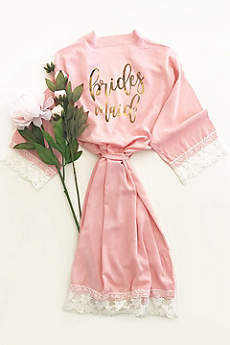 Bridesmaid Cotton Robe With Lace Trim