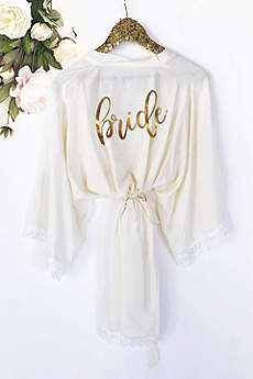 Bride Cotton Robe With Lace Trim
