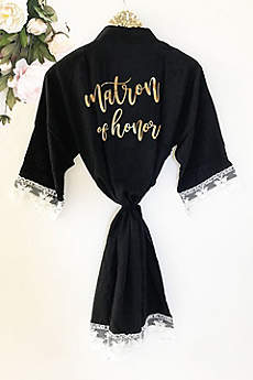 Matron of Honor Cotton Robe With Lace Trim