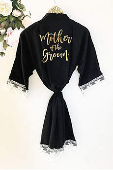 Mother of the Groom Cotton Robe With Lace Trim