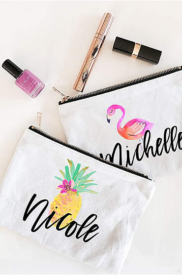 Personalized Tropical Beach Canvas Cosmetic Bags