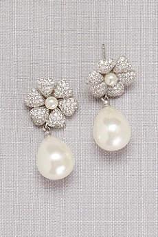 Crystal-Dusted Pearl Drop Earrings