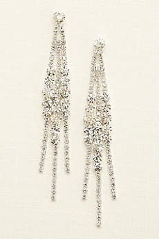 Solitaire Crystal Cluster Fringe Earrings