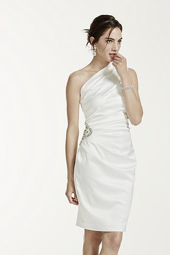 Stretch Satin One Shoulder Dress EJ2M2072