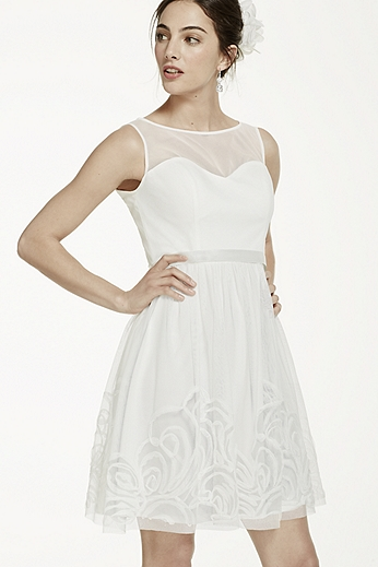 Short Mesh Dress with Illusion Sweetheart Bodice EJ4M5197