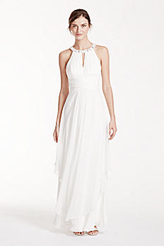 Long Chiffon Dress with Keyhole Detail EJ4M6307