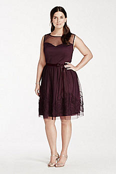 Sleeveless Illusion Neckline Dress with Satin Belt EJ4M6898W